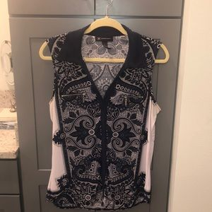 Women's INC sleeveless navy blue and white blouse